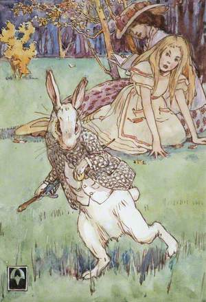 'Suddenly a rabbit with pink eyes ran close by her'