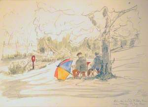 Phil and Eric Drawing at Bushey House Lake, Tuesday 17 July 2001
