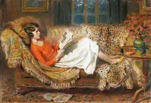 Irene Reading on a Chesterfield