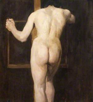 Male Nude Holding an Easel