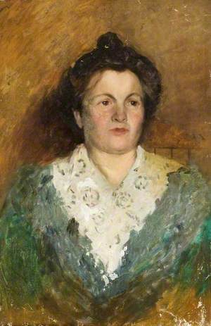Portrait of a Woman in a Green Dress with a Lace Collar