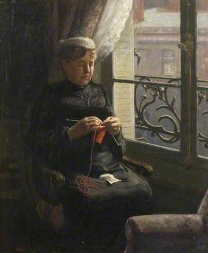Artist's Mother Knitting in a Flat in Paris