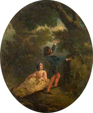 Young Man Reaching up to Pick Flowers for a Young Lady