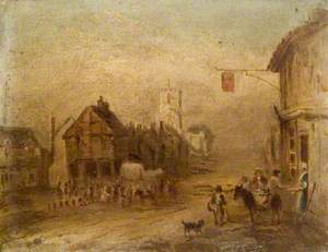 The Old Market House and 'Five Bells' Pub, High Street, Berkhamsted as It Appeared before 1854