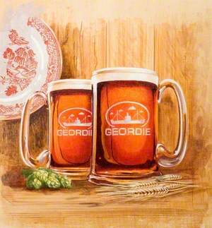 Two Geordie Glass Tankards and a Plate