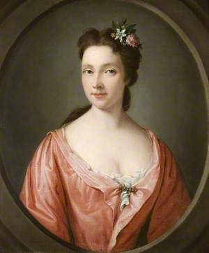 Portrait of a Woman in a Red Dress with Flowers in Her Hair