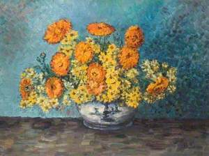 Flowers in a Blue and White Vase