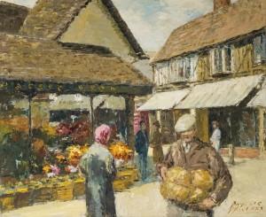 Shoppers in Hitchin Churchyard