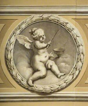 Winged Infant with a Stick and a Chalice