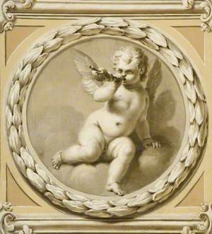 Winged Infant Blowing a Shell