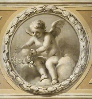 Winged Infant Placing a Garland on a Stone
