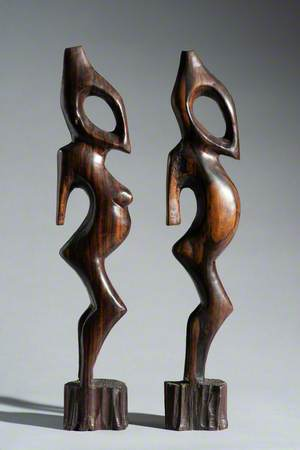 Pair of Makonde Male and Female Sculptures