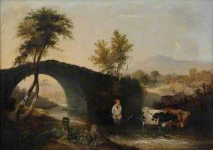 Landscape with Bridge, Cattle and Mountains