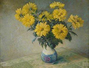 Vase with Yellow Chrysanthemums