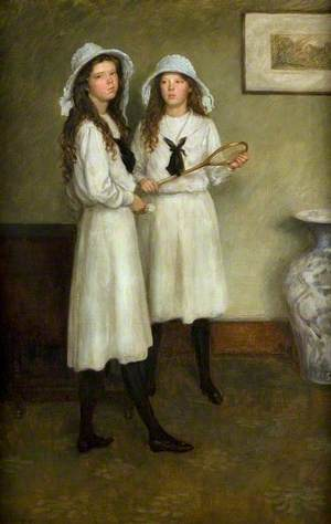 Ailsa and Marjorie Hatton, with a Racquet