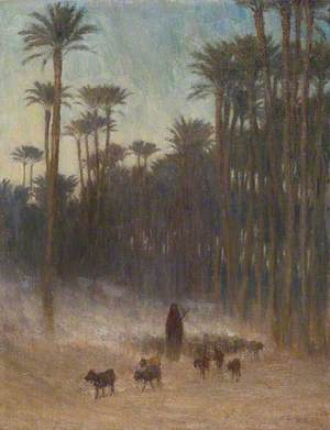 Arab Women under Palms with Goats