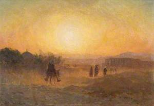Man on a Donkey with Sunset