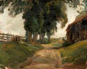 Study of a Lane and Barn