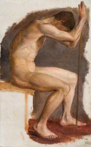 Seated Male Nude, Leaning Forward on a Staff