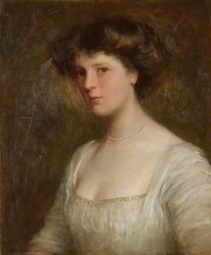 Lady with Pearls in a White Dress