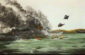 HMS 'Galahad' on Fire