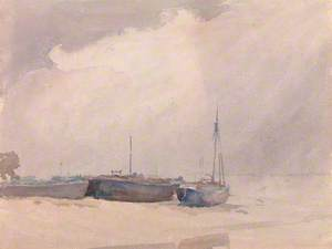 Beach Scene with Boats