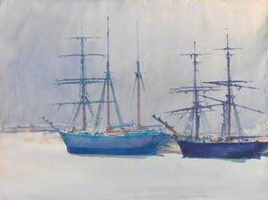 Two Sailing Vessels at Anchor