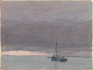 Purple Sky and Leaden Sea with Ship