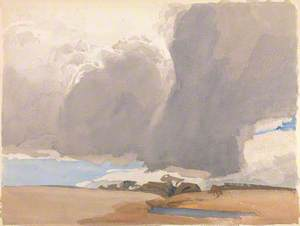 Billowing Clouds over a Brown Landscape