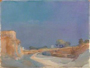 Curving Road under Vibrant Sky