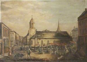 Old St Matthew's Church with Market Stalls