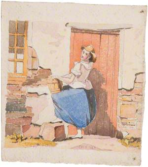 Young Woman outside Cottage Door