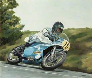 John Crellin on a Motorbike
