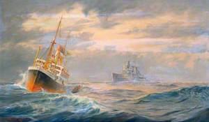 The 'Belfast' Boarding a German Merchant Ship