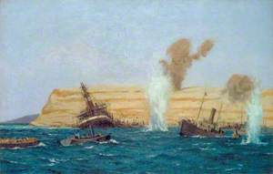 The Base Camp, Cape Helles, under Shell Fire, August 1915: The SS 'River Clyde' Aground