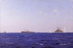 The Balloon Ship Hector with Kite Balloon Spotting off the Left Flank, Dardanelles Operations, 1915