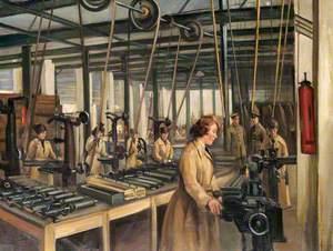 Armament School, Uxbridge: Women's Royal Air Force at Work in Aerial Gun-Testing Shop