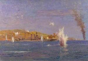 HMS 'Queen Elizabeth' Shelling Forts, Dardanelles: The Attack on the Narrows, Gallipoli, 18 March 1915