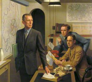 Sir Ernest Gowers (1880–1966), KCB, KBE, Senior Regional Commissioner for London, Lieutenant Colonel A. J. Child, OBE, MC, Director of Operations and Intelligence, and K. A. L. Parker, Deputy Chief Administrative Officer, in the London Regional Civil Defence Control Room
