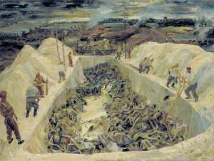 One of the Death Pits, Belsen: SS Guards Collecting Bodies