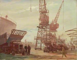 Lorries Transporting Landing Craft: Royal Albert Docks, London