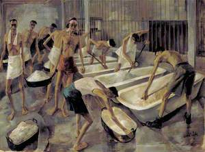 Singapore: The Cookhouse, Changi Gaol, British Prisoners of War Prepare Their Main Meal of Rice