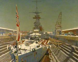 HMS 'Courageous' in Dry Dock, at Rosyth, in Winter