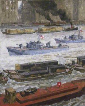 Wartime Traffic on the River Thames: War Supplies at Paul's Wharf
