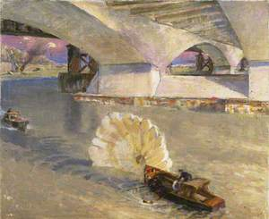 Wartime Traffic on the River Thames: River Police at Waterloo Bridge during the Battle of Britain