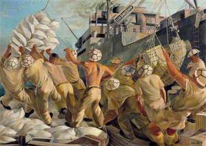 Malta: No Time to Lose, Soldier Dockers Unloading a Convoy during a Raid