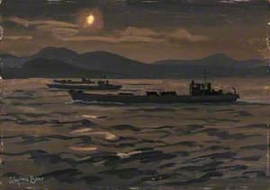 Tank Landing Craft Just before Dawn