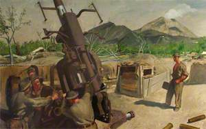 A 3.7 Anti-Aircraft Gun of 393/72 Heavy Anti-Aircraft Regiment, RA, CMF