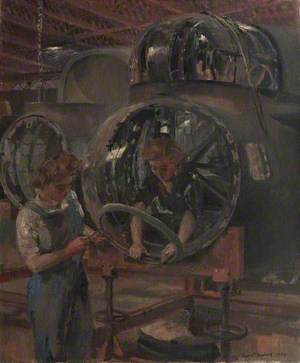 A Nose Section after Repair: Girls Fitting Supports to Take the Bomb Aimer's Window
