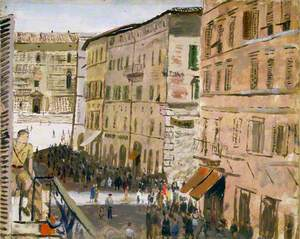 A Street Scene from the Officers' Mess, Perugia, Italy